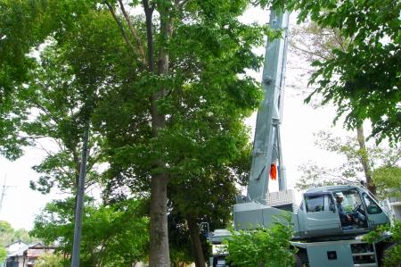 ラフタークレーン 伐採 25トン 愛知県
