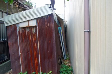 家と家の間の伐採対象木
